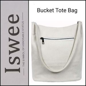 🆕️ Iswee Canvas Bucket Tote in Off White